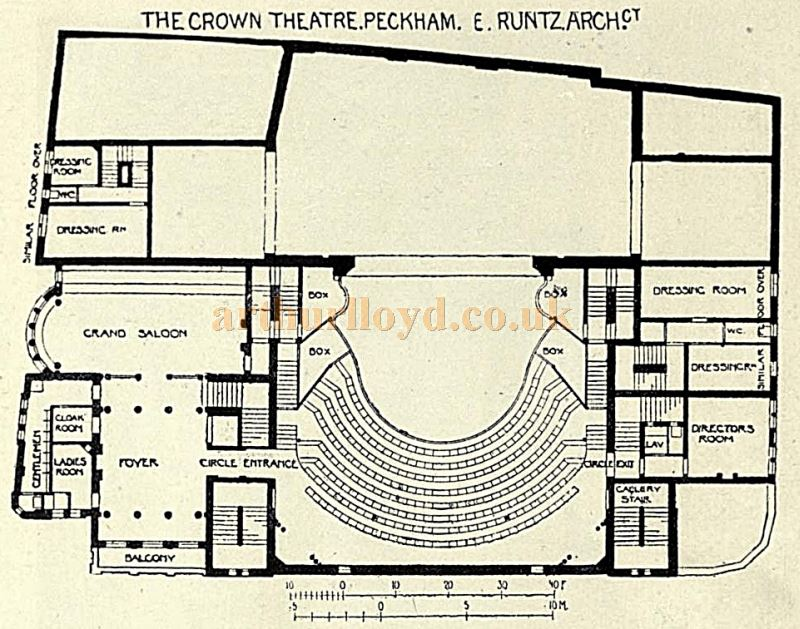 A Plan of the Crown Theatre, Peckham - From the Academy Architecture and Architectural review of 1898.