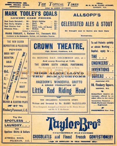 A programme for 'Little Red Riding Hood' at the Crown Theatre, Peckham.