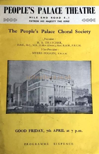 A Programme for the People's Palace Theatre, Mile End Road, on Good Friday, 7th of April 1950 - Courtesy Martin Clark.