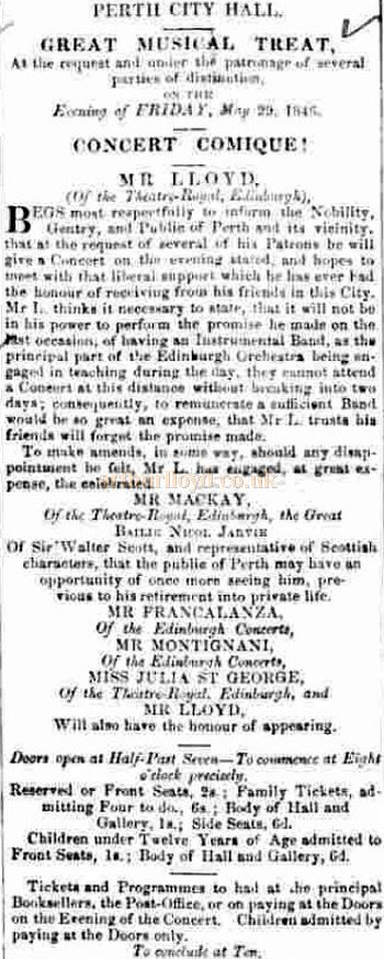 An advertisement in May 1846 for Horatio Lloyd's Concert in the City Hall, Perth - Courtesy Graeme Smith.