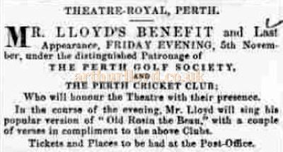 An advertisement for an Horatio Lloyd Benefit Night in November 1847 in the Theatre Royal Perth - Courtesy Graeme Smith.