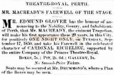 An advertisement by Edward Glover for the William Macready Farewell of 1850 - Courtesy Graeme Smith.