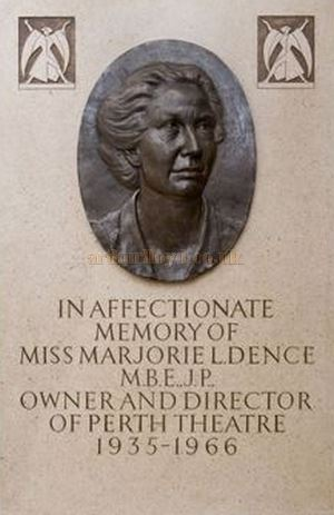 A Plaque in the Perth Theatre commemorating Marjorie Dence - Courtesy the Perth Theatre.