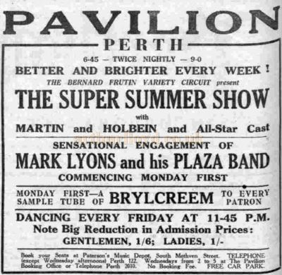 An August 1939 advertisement for the Perth Pavilion Super Summer Show presented by Bernard Frutin - Courtesy Graeme Smith.