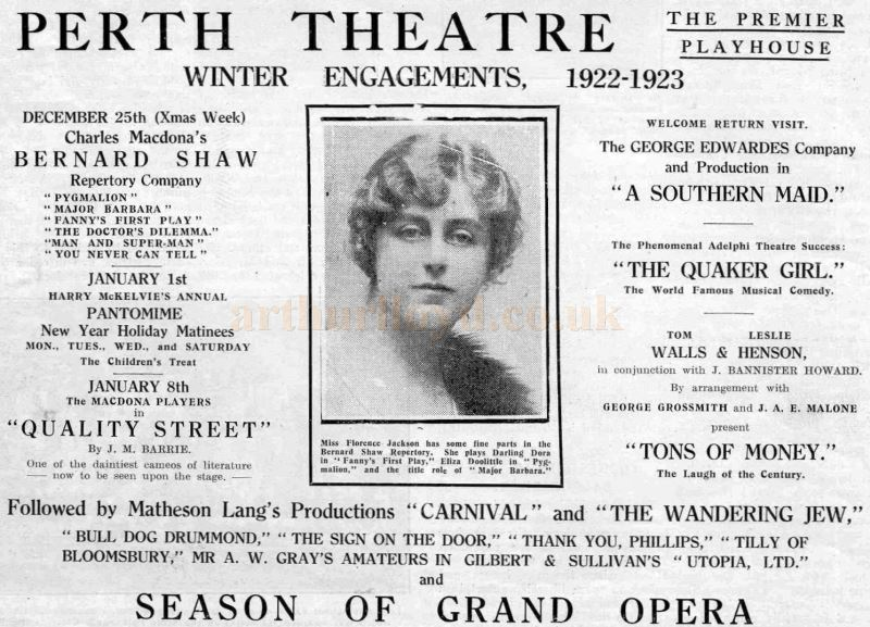 A Perth Theatre Programme of Productions for the winter of 1922/23 - Courtesy the Perth Theatre Project Team.