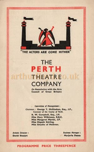 A Perth Theatre Company Programme Cover design for the 1940s and 1950s - Courtesy Graeme Smith.