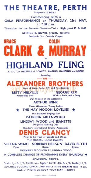 A Perth Theatre flyer from the 1970s for the Summer Show months, headed by Clark & Murray, with special guest artistes each week or fortnight, this one being for the Alexander Brothers - Courtesy Colin Calder.