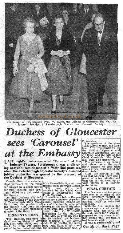 Right - The Duchess of Glocester sees 'Carousel' at the Embassy Theatre Peterborough - Date unknown.