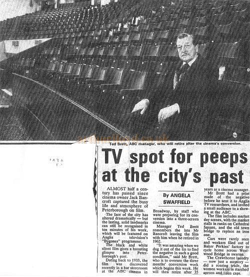 Press cutting circa 1986 about a 1933 film made by Jack Bancroft capturing the busy life and atmosphere of Peterborough, which was found in a bar storeroom nearly fifty years later when the Embassy Theatre had become the ABC Theatre and was about to be converted to a Cinema