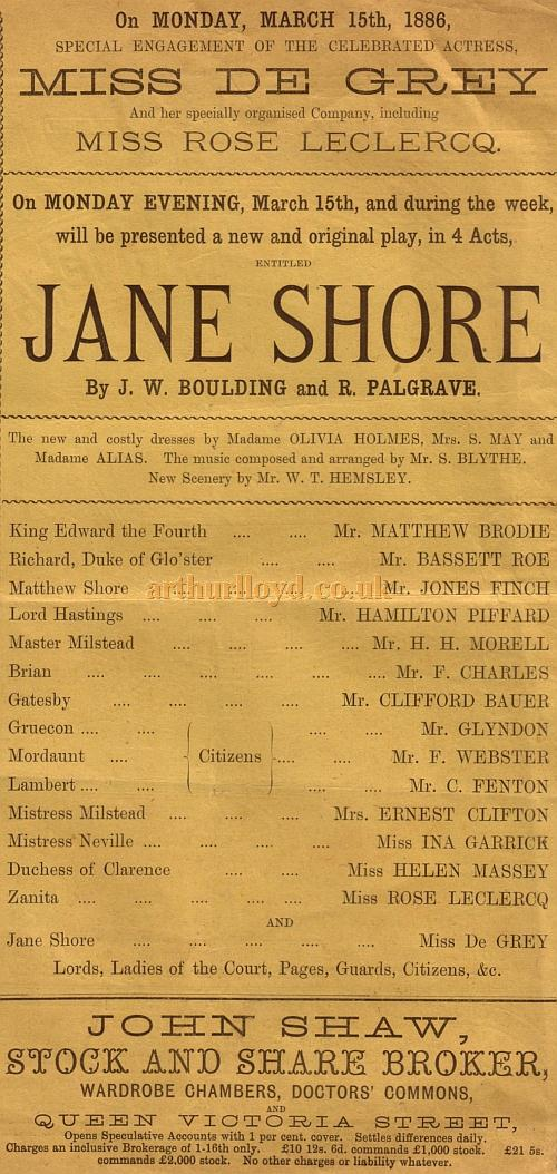 Details from a programme for the play 'Jane Shore' by J. W. Boulding and R. Palgrave at the Grand Theatre, Islington on March the 15th, 1886.