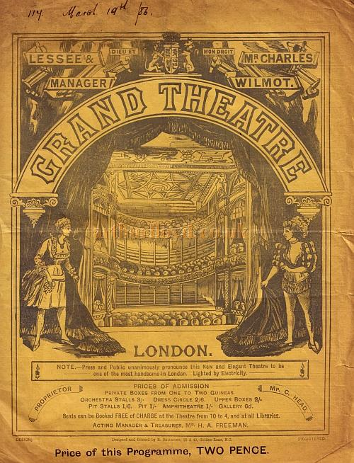 A programme for the play 'Jane Shore' by J. W. Boulding and R. Palgrave at the Grand Theatre, Islington on March the 15th, 1886.