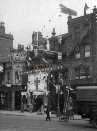 The Islington Empire decked out with bunting and flags to celebrate the coronation of George VI in May 1937 - Courtesy Alan Towill whose father, Albert C. Towill, worked as a Maintenance Man at the Theatre at the time.