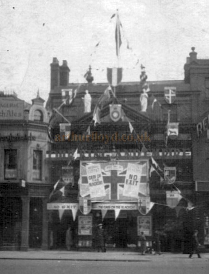 The Islington Empire decked out with bunting and flags to celebrate the coronation of George VI in May 1937 - Showing at the Theatre at the time was the 1936 film 'The Case of the Black Cat' - Photo Courtesy Alan Towill whose father, Albert C. Towill, worked as a Maintenance Man at the Theatre at the time.