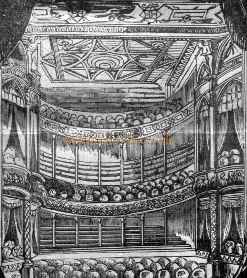 The auditorium of the Grand Theatre, Islington - From a programme for the play 'Jane Shore' at the Theatre on March the 15th, 1886, just 3 years after the Theatre first opened.