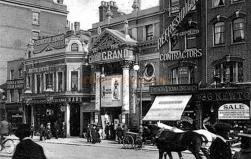 A Postcard depicting the third Grand Theatre, Islington in 1903, this was built on the site of the former Philharmonic Hall / Philharmonic Theatre and first and second Grand Theatres
