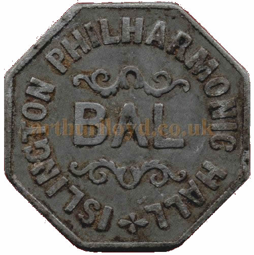 An undated Balcony Entrance Token for the Philharmonic Hall, made of zinc and 30mm across - Courtesy Alan Judd.