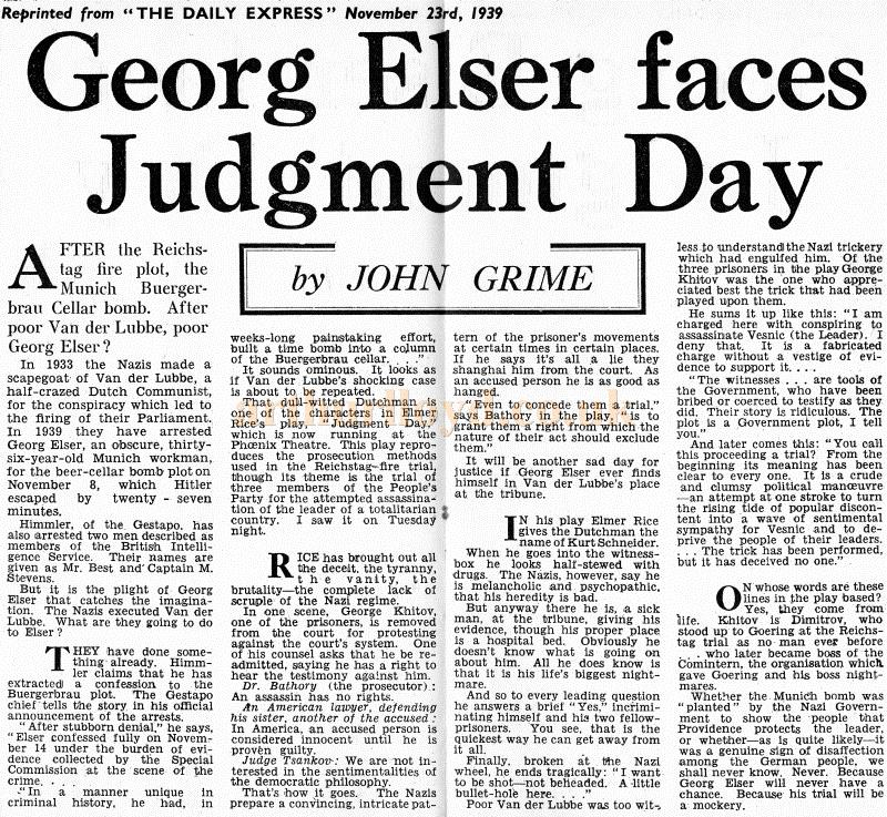A review of 'Judgment Day' at the Phoenix Theatre, by John Grime of the Daily Express, in November 1939 - Kindly Donated by Clive Crayfourd.