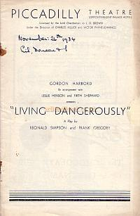 Programme for 'Living Dangerously' at the Piccadilly Theatre in 1934.