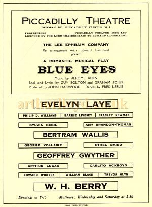 The Cast of 'Blue Eyes' - From the Souvenir Programme produced for the opening of the Piccadilly Theatre on the 27th of April 1928 - Courtesy Adam Harrison.