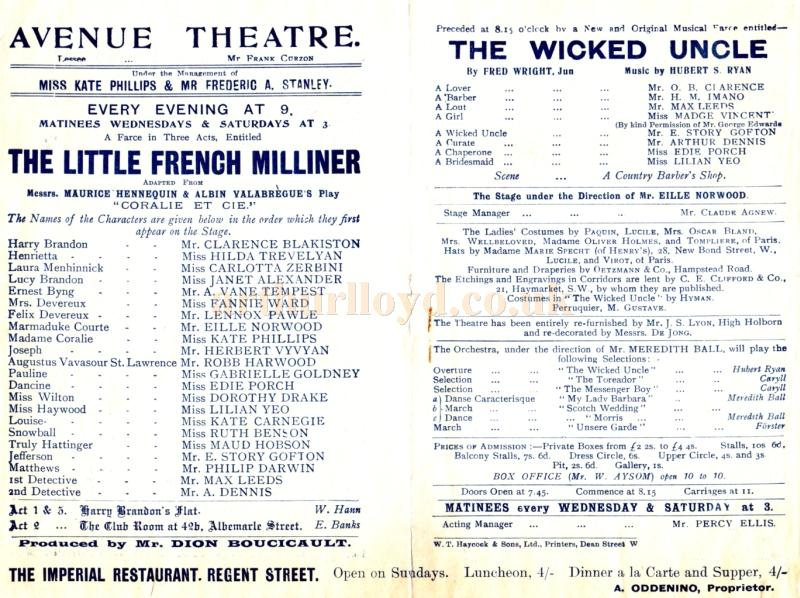 Details for ''The Little French Milliner' and 'The Wicked Uncle'  at the Avenue Theatre in the early 1900s