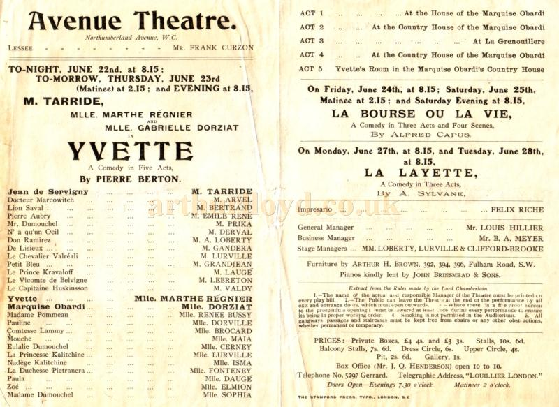 Details from a programme for ''Yvette'  at the Avenue Theatre in the early 1900s