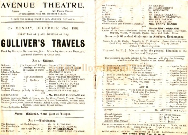 Details from a programme for ''Gulliver's Travels' at the Avenue Theatre in December 1901