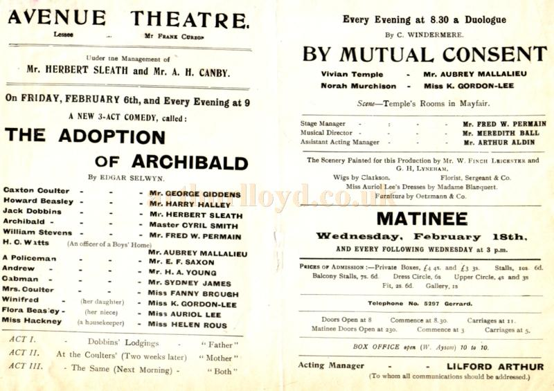 Details from a programme for 'The Adoption of Archibald' and 'By Mutual Consent'  at the Avenue Theatre in the early 1900s