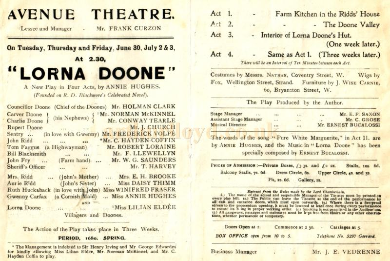 Details from a programme for ' Lorna Doone'  at the Avenue Theatre in the early 1900s