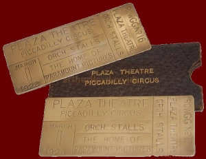 Brass tickets for the opening of the Plaza Theatre - Courtesy Phill Jeapes