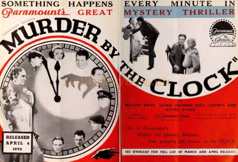 An Advertisement for the film 'Murder By The Clock' at the Plaza Theatre in 1931 - From the Bioscope, 7th of October 1931.
