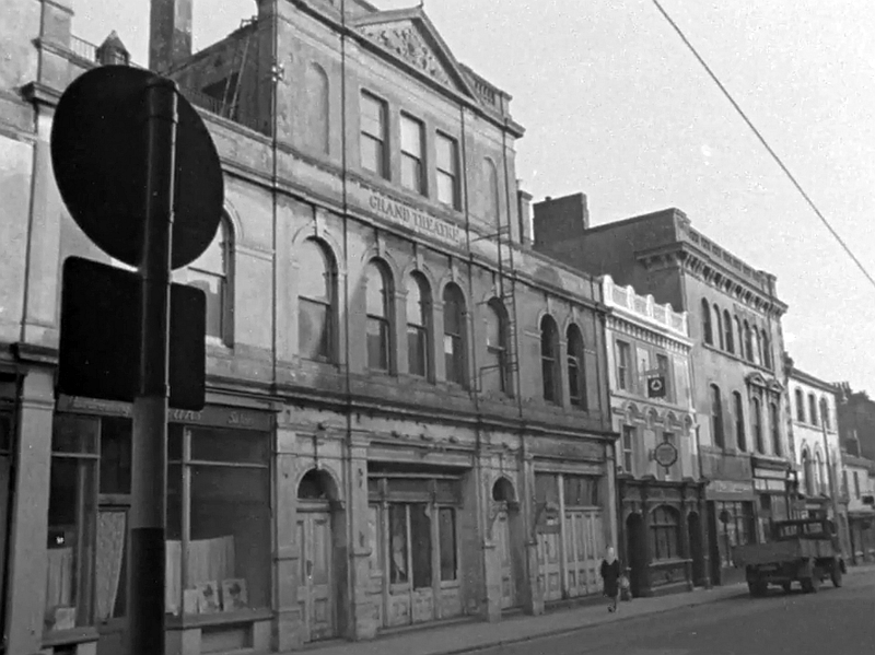 The Frontage of the former Plymouth Grand Theatre from a Film shot in 1962 after the Theatre had been closed and derelict for many years, the Film is available to watch on the BFI website by clicking here.