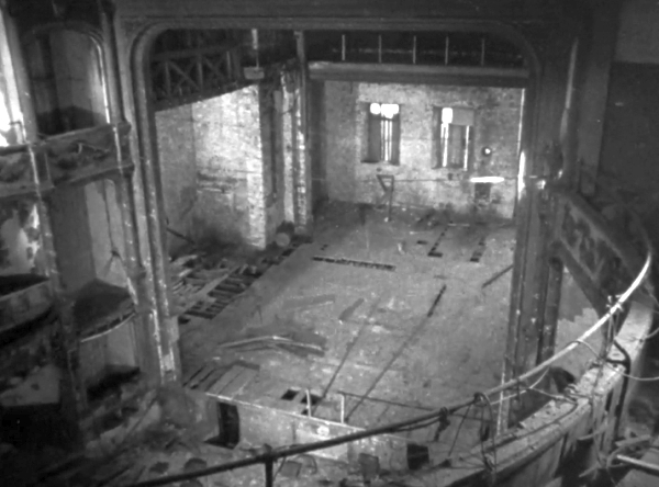 The Auditorium and Stage of the Grand Theatre, Plymouth from a Film shot in 1962 after the Theatre had been closed and derelict for many years, the Film is available to watch on the BFI website by clicking here.