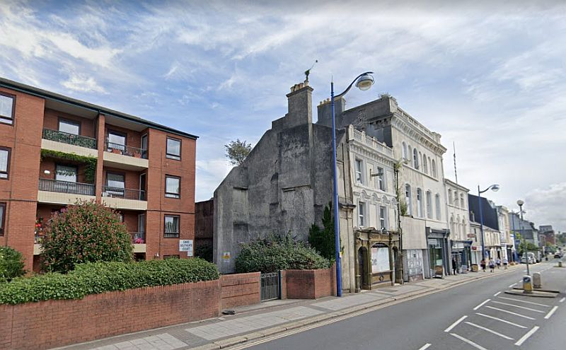 A Google Street View of the site of the Grand Theatre, Plymouth. To the right of this picture is the Public House which bears the name Grand Theatre itself but was established in 1847, many years before the Theatre was built.