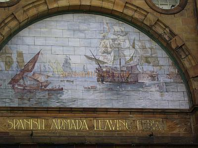 A scene of the Spanish Armada Leaving Ferrol is depicted in painted tiles on the exterior of the Palace Theatre, Plymouth - Courtesy Richard Lawrie.