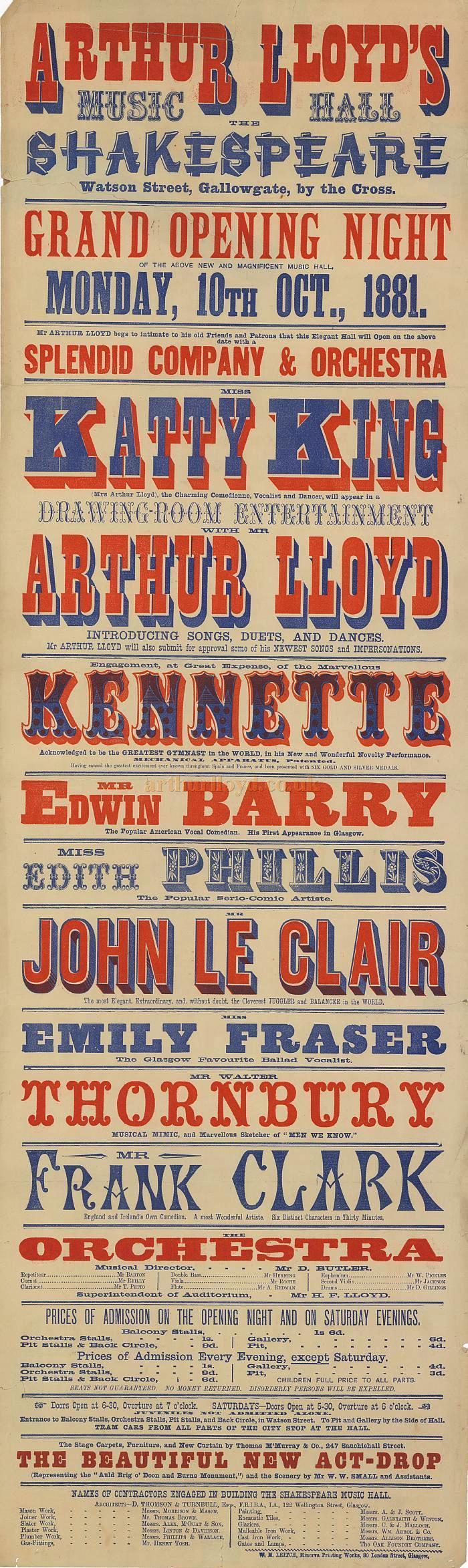 A Poster for Arthur Lloyd's Shakespeare Music Hall, Glasgow 1881