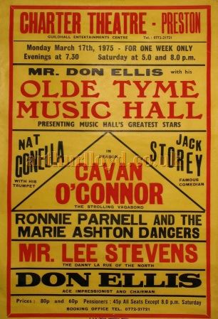 An 'Old Tyme Music Hall' Poster for the Charter Theatre, Preston in March 1975 - Courtesy D Stevens, Horseheads, NY.