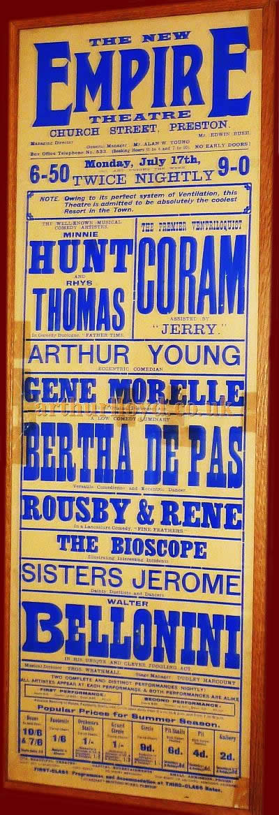 A Poster for a variety show at the Empire Theatre, Preston in July 1911 - Courtesy Paul Bland.