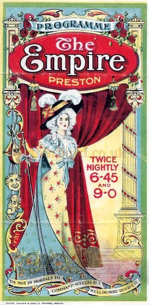 A Variety Programme for the Empire Theatre, Preston for January the 14th 1918 - Courtesy David Sigafus.