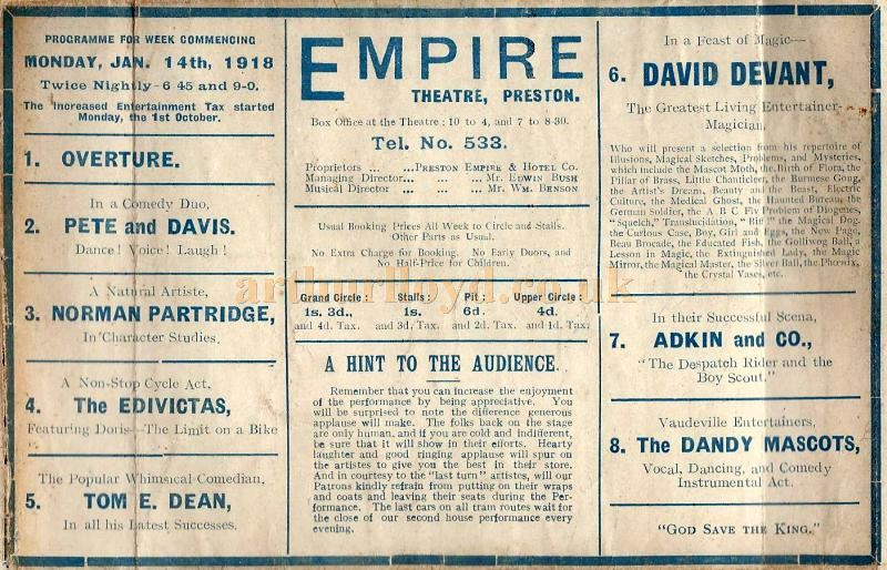 A Variety Programme for the Empire Theatre, Preston for January the 14th 1918 - Courtesy David USA.