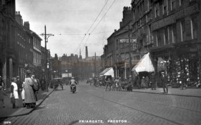 A postcard showing Friargate Street and the Preston Hippodrome