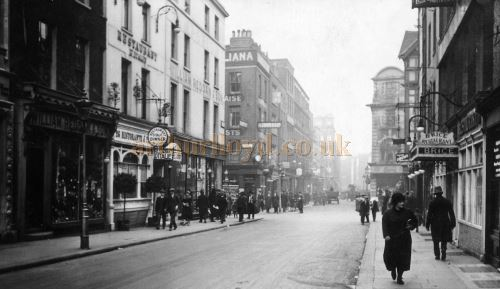 A Photograph of Old Compton Street in 1925 showing the site of the Prince Edward Theatre before its construction in 1929 - Courtesy Sarah Buttery.