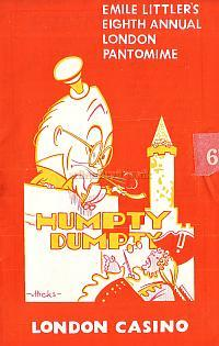 Pantomime Programme for 'Humpty Dumpty' at The London Casino in the 1940s.