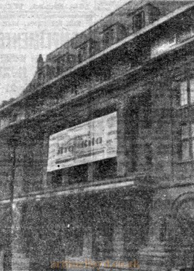 The newly built Prince Edward Theatre in March 1930 with signage for the opening production of 'Rio Rita' - From The Stage Newspaper, 27th March 1930.