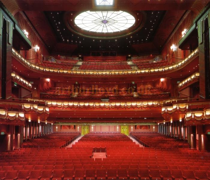 The newly refurbished auditorium of the Prince Edward Theatre in 1993 - From a press handout by Delfont Mackintosh Theatres LTD.