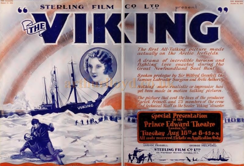 A Cinema Poster for the Film 'The Viking' which was shown at the Prince Edward Theatre in 1931 - From The Bioscope Cinema Magazine of 1931.