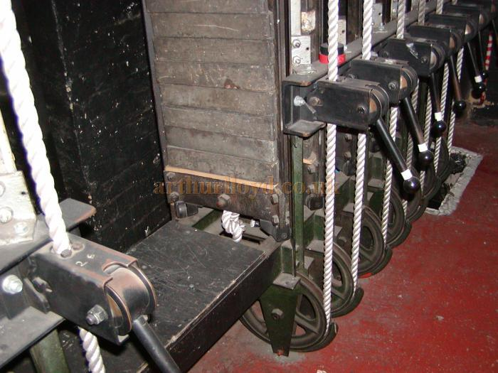 The Birkitt counterweight system at the Prince of Wales Theatre shortly before its removal during renovations in 2003/5 - Courtesy Roger Fox.