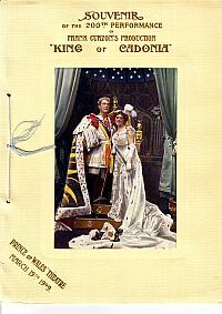 A Programme for 'King of Cadonia' at the Prince of Wales Theatre in 1908 - Click for details.