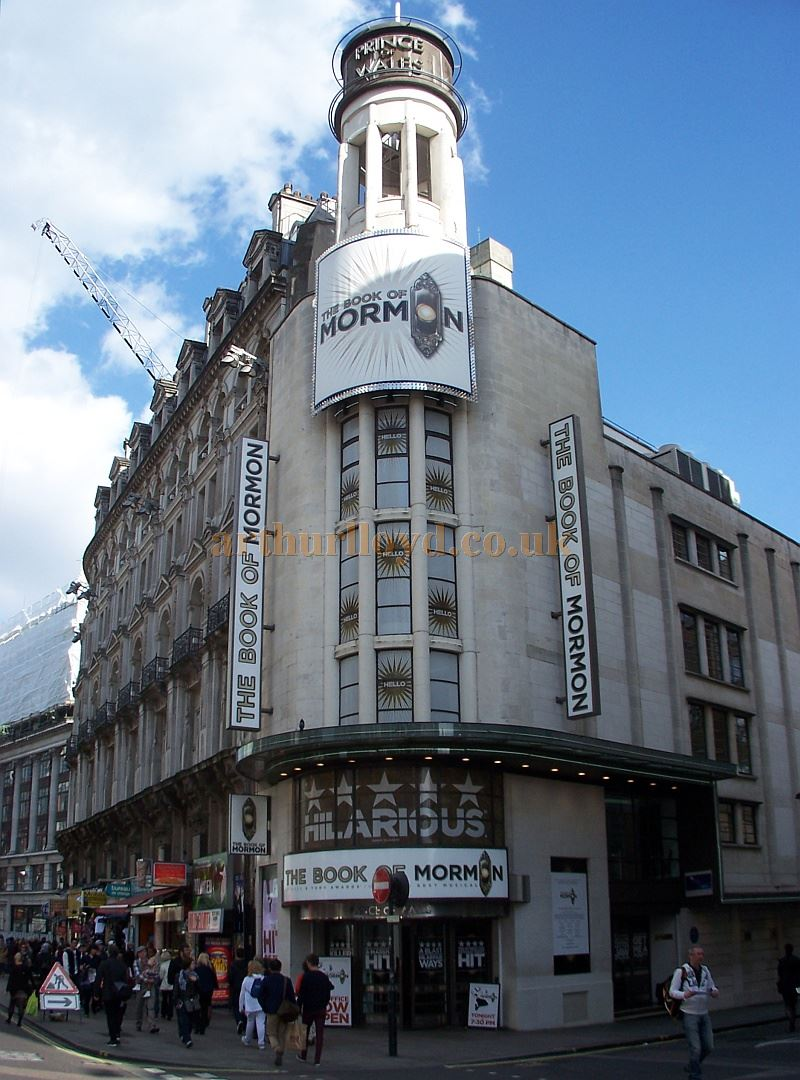 The Prince Of Wales Theatre in April 2014 during the run of the acclaimed Broadway Musical 'The Book of Mormon' - Photo M. L.