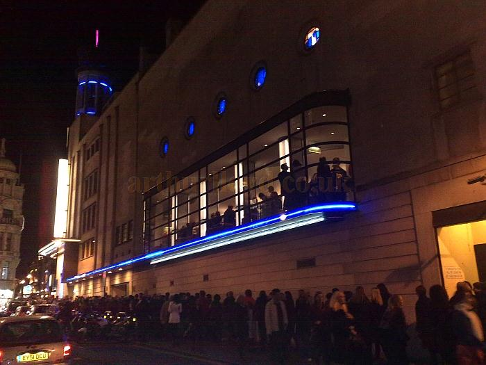 An expectant audience queues for the Evening performance of Mama Mia at the Prince of Wales Theatre in November 2011. - Photo M.L.