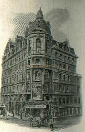An image of the original Prince's Theatre and the Prince's Hotel - From a programme for 'La Poupee' in 1897.